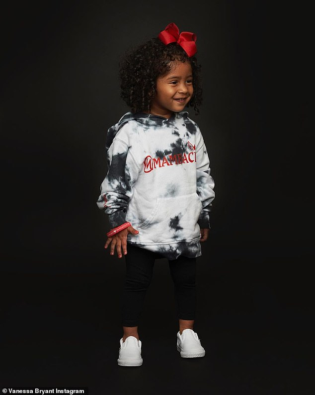Adorable: Vanessa's youngest daughter, 21-month-old Capri, looked absolutely adorable in a pic of her sporting a child-size hoodie and matching red bow