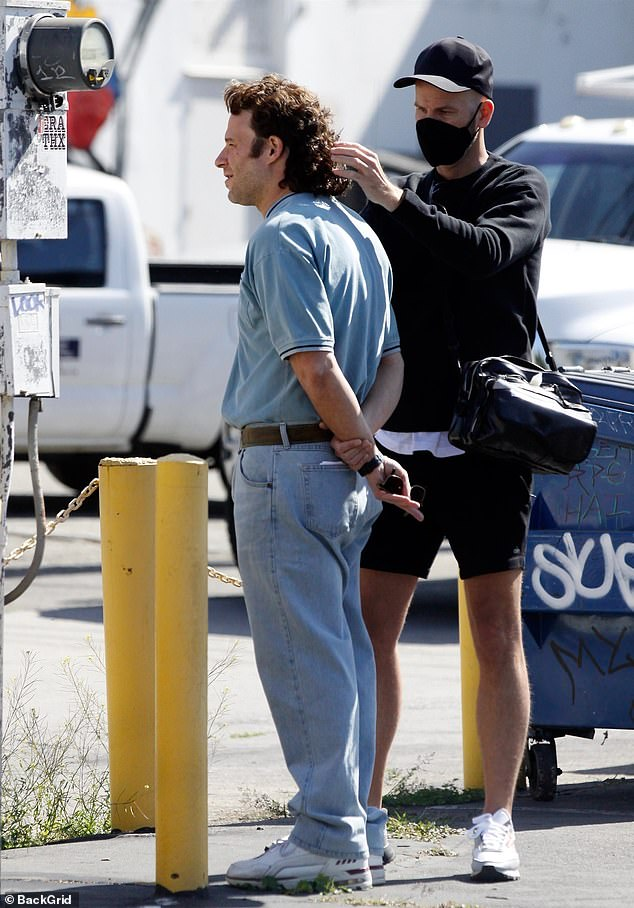 Touch-up:The This Is The End star, 39, was seen in costume, getting his hair touched up which included a full-on long and curly brown mullet