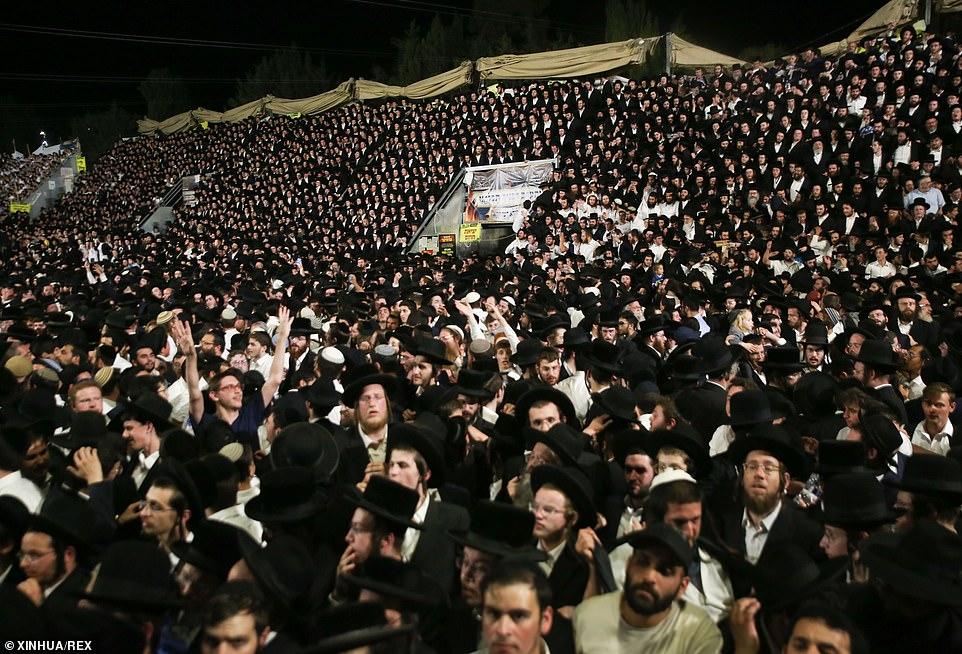 People gathered to celebrate the Jewish holiday of Lag BaOmer on Mount Meron, Israel, on April 29