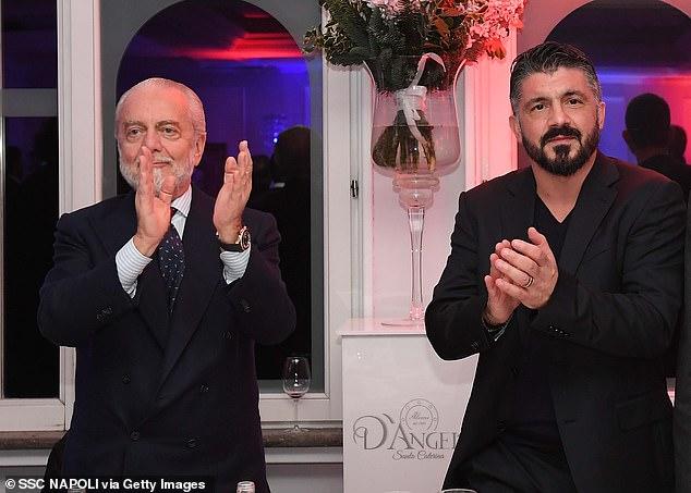 Gattuso has had a difficult relationsihp with Napoli presidentAurelio De Laurentiis (L)