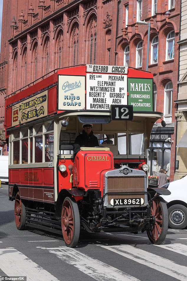 Props: An old fashioned bus, which had signs on the front for Oxford Street in London, was on the Birmingham streets