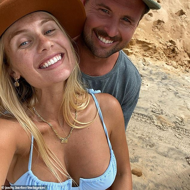 Growing family: The former The Block star welcomed Sunny, whom she shares with her fiance Josh Barker (pictured) on February 25
