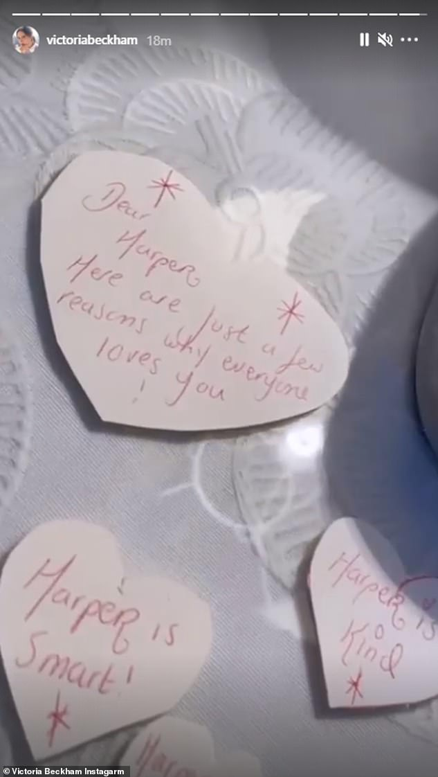 'Here are just a few reasons why everyone loves you': A series of smaller hear-shaped letters reminded Harper of some of her positive qualities