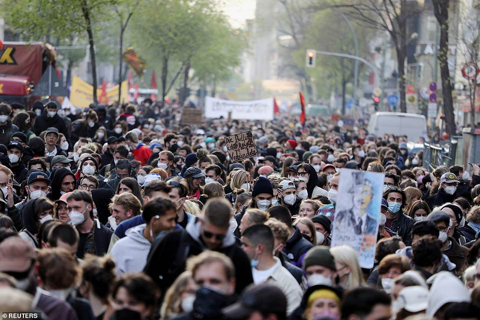 BERLIN, GERMANY: A huge crowd of people walk through the streets of Berlin earlier today as they took part in May Day protests