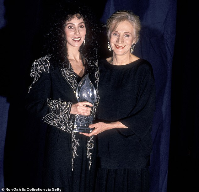 Dukakis, who is pictured above with Cher in 1989,acted in more than 130 theater productions, 60 films and 50 TV series throughout her career