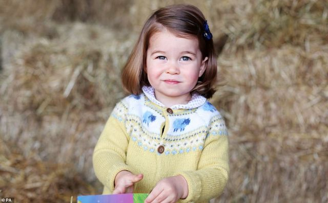Age two: An image released as part of a series of delightful mementoes of Charlotte's birthdays taken by the Duchess.At some point in the future, Charlotte will be the only daughter of the King
