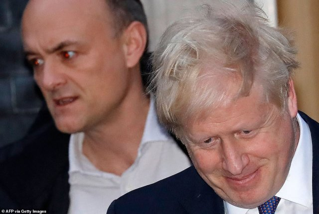 Yet, the relationship between Mr Johnson, right, and his former chief advisor, Mr Cummings, left, has descended into open hostility