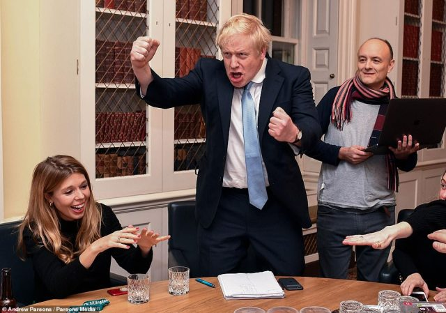 Boris Johnson, Carrie Symonds and Dominic Cummings, celebrated winning the general election on December 13, 2019