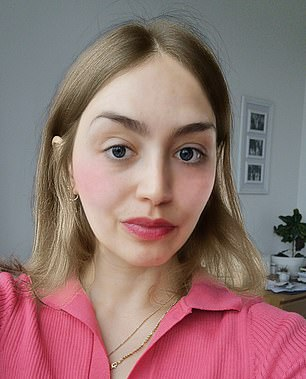 Giulia is pictured above with her hair lighter and her lips bigger