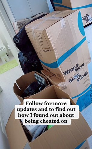 The scorned woman uploaded a picture of the packed boxes after she removed all of her now-ex's belongings from her home