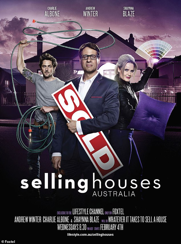 OLD team: Gold Logie-nominated presenter Andrew Winter appeared on the first 13 seasons of Selling Houses Australia (2008-2020) with Charlie Albone and Shaynna Blaze. All pictured