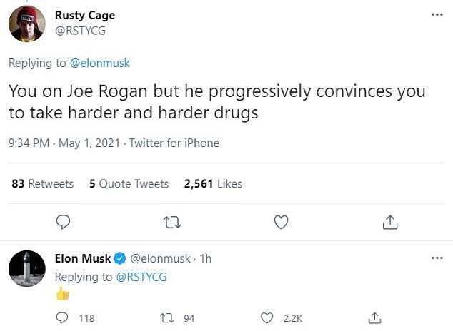One person suggested he take hard drugs with Joe Rogan, a reference to the time Musk smoked marijuana on the famous podcast