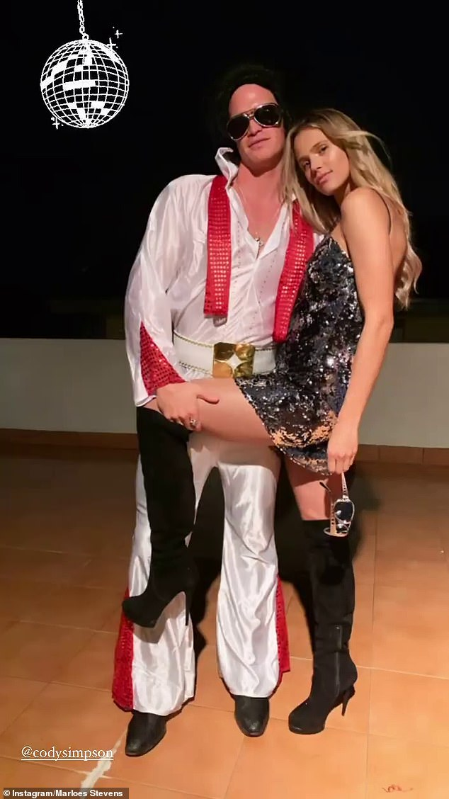 Playful: Singer Cody Simpson dressed-up as iconic singer Elvis Presley alongside his model girlfriend Marloes Stevens for his sister Alli's birthday party on Saturday on the Gold Coast