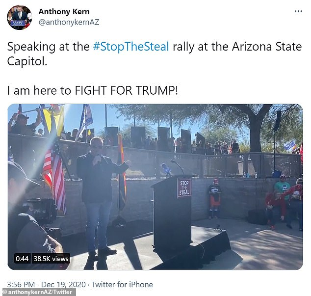 Kern tweeted a video on December 19, 2020 speaking at the Stop The Steal rally in Arizona. He is now one of those counting ballots for an Arizona audit of the vote