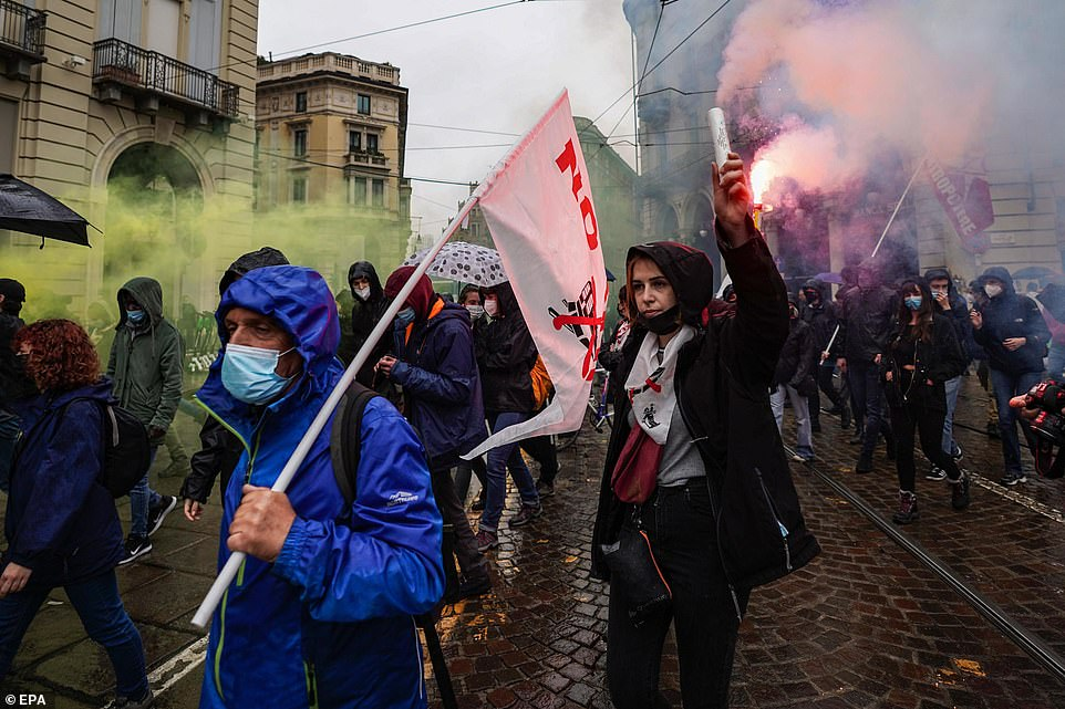 TURIN, ITALY:Thousands also poured onto the streets of Turin, Italy for the workers' day protests in defiance of lockdown rules, resulting in violent clashes with police