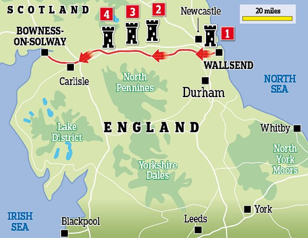 The wall is one of the UK's 32 world heritage sites and reaches 73 miles across England from Newcastle upon Tyne in the east to Bowness-on-Solway in the West