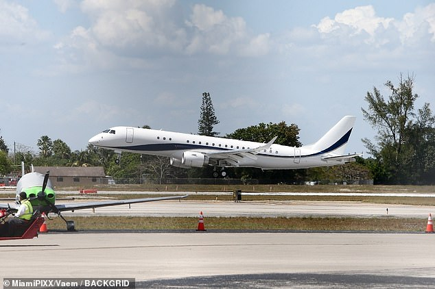 High style: Scott returned home in his new plane following a luxurious getaway to the Bahamas