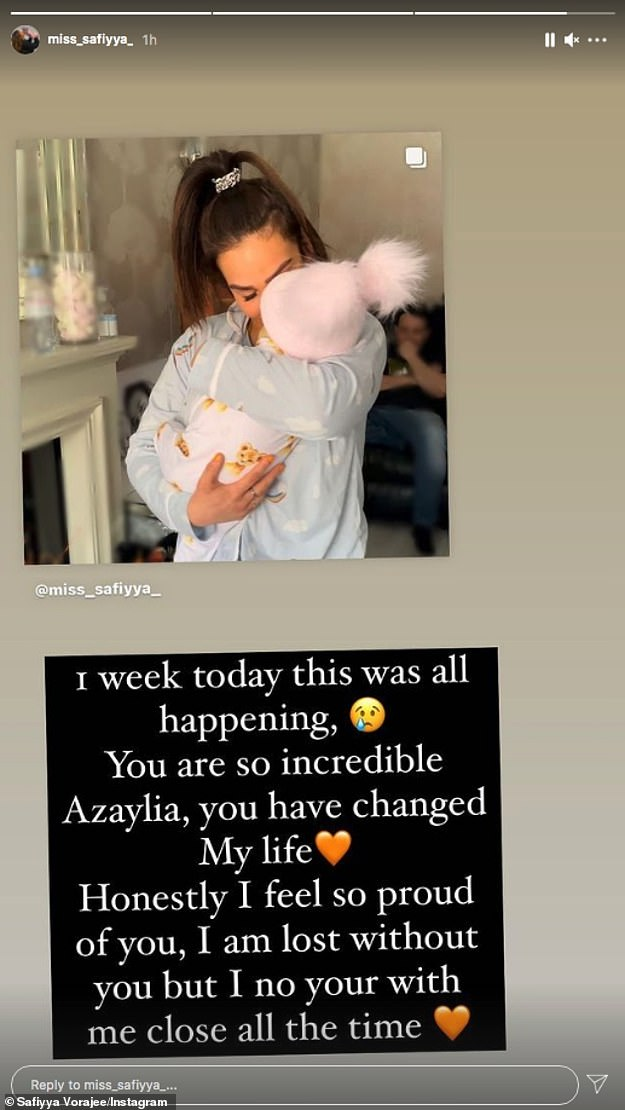 Stay strong: In another post, Safiyya uploaded her final photo cuddling her daughter and said: '1 week ago this was all happening. You are so incredible Azaylia, you have changed my life'