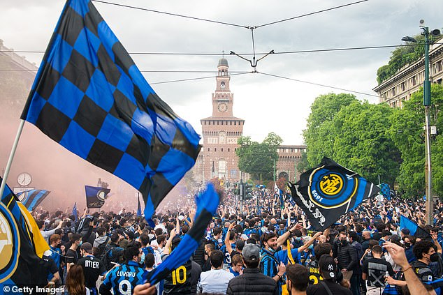The Nerazzurri were out in force to party after winning their first Italian title in 11 years