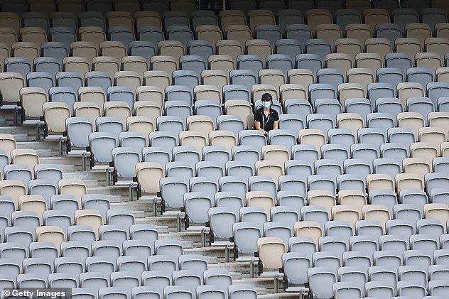 Sunday's AFL western derby between West Coast and Fremantle at Optus Stadium was played behind closed doors (pictured)