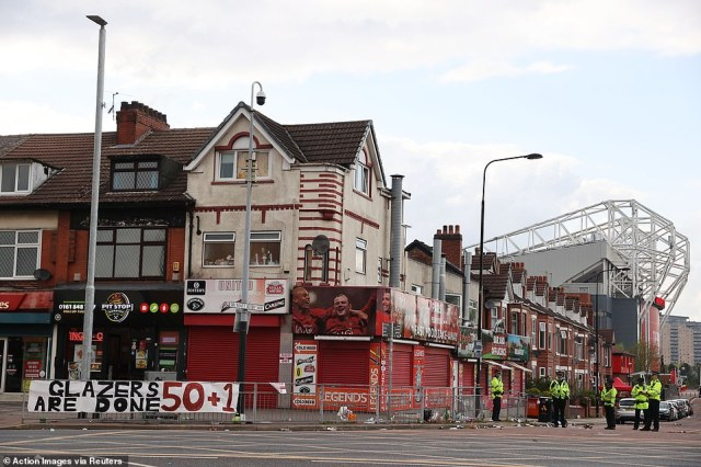 Fans were finally dispersed and the local area was brought under control, but banners against the Glazers remained behind