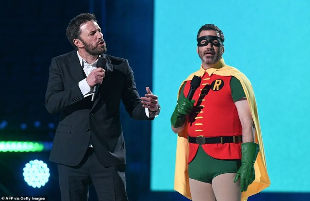 Batman star Ben Affleck and Jimmy Kimmel stepped up together to address the crowd - with the late night host dressed as Robin