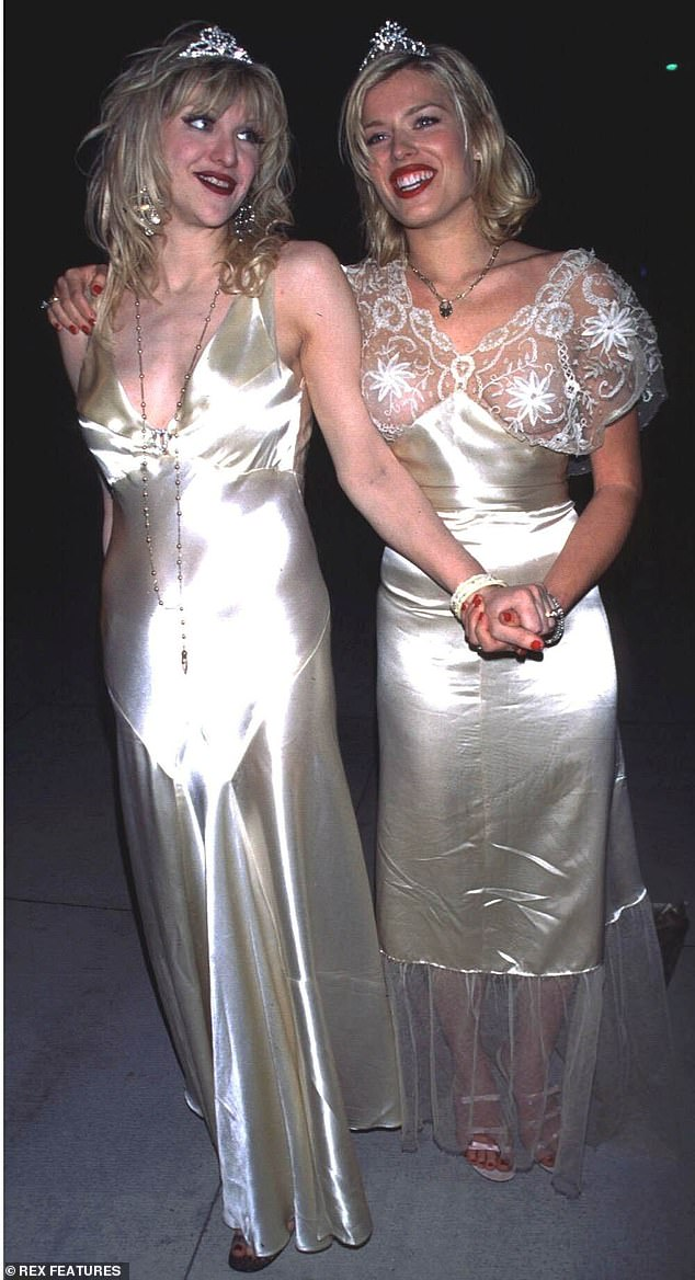 The British-born TV host rose to fame during her high-profile marriage to the rock star Duran Duran bassist John Taylor by whom she became pregnant aged 18 and would often party with rockstars including Courtney Love (pictured in 1995)