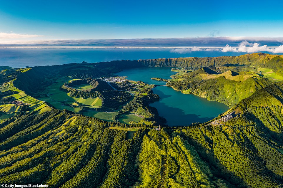 Hotspots: The crater of Sete Cidades on the island of Sao Miguel is three miles in diameter and filled with blue and emerald-coloured waters