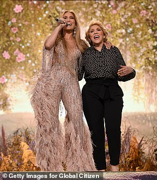 Family: Jennifer took to the stage for the first time to sing Neil Diamond's song Sweet Caroline, accompanied by her mother Guadalupe Rodriguez