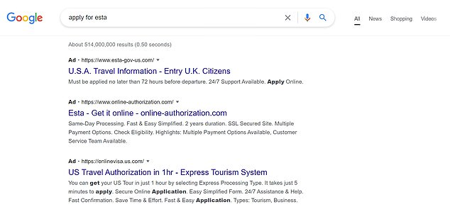 MailOnline's screenshot when searching for 'apply for ESTA'. Experts warn the public over search results with 'Ad' in bold next to them