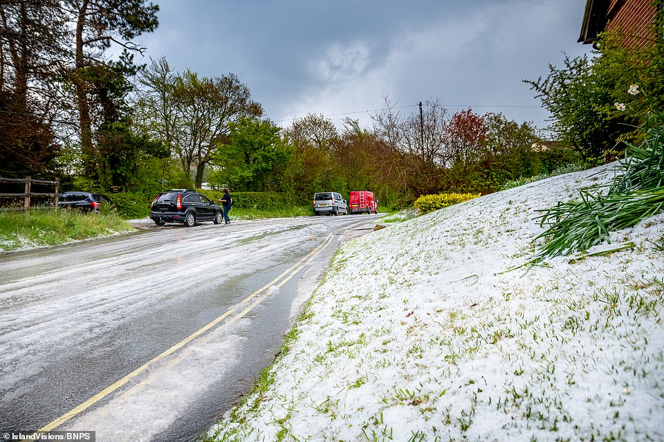 Hail froze to the roads and grass, looking like snow was covering the Isle of Wight this weekend