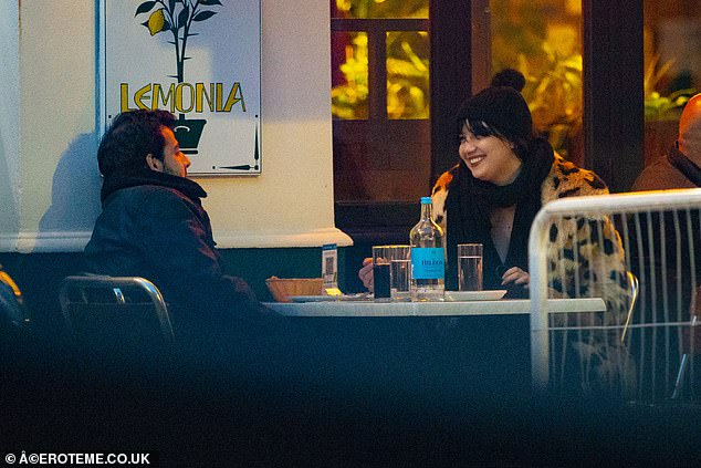 All smiles: Daisy beamed widely across the table at her boyfriend Jordan, who is the thirdmale suitor she has been linked to since the beginning of lockdown