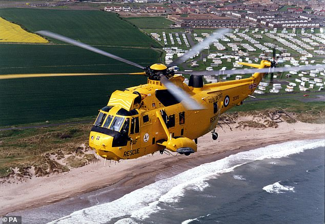 The helicopter (pictured) was retired from the RAF in 2018 the the last new Sea King produced in 1995