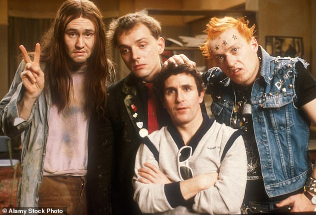 """Early debut: The Thespian is also known for his role as a student Vyvyan """"Vyv"""" Basterd in The Young Ones (pictured far right with Nigel Planer, Rik Mayall and Christopher Ryan in 1982)"""