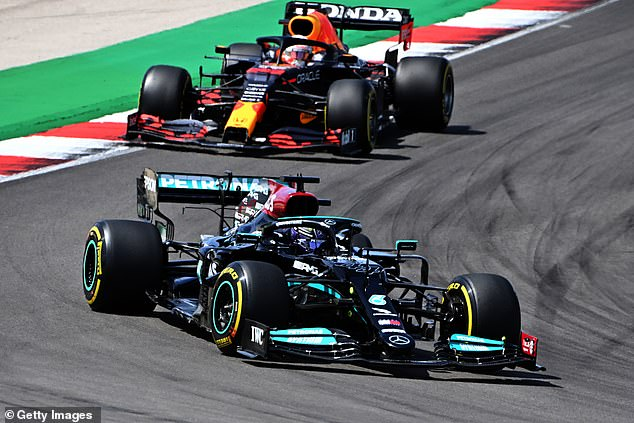 Hamilton had to pass Bottas as well as title rival Max Verstappen (top) to win at Portimao