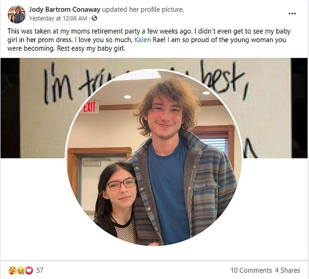 Her devastated mother, Jody Bartrom Conaway, wrote on Facebook that she didn't even get to see her daughter in her prom dress.The couple had been visiting Hart's father and posed for photos together in their prom outfits before they headed to her mother's house. The crash occurred on the way