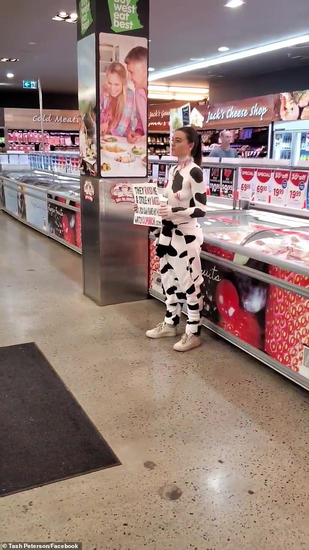 Stunned shoppers stop in their tracks to listen to Ms Peterson as she urges them to ditch meat and completely overhaul their diets for the sake of animals in a previous supermarket stunt