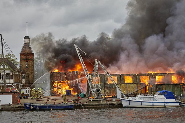 A fire erupted atPlatt's Eyot on the River Thames, Hampton, today with the London Fire Brigade in attendance