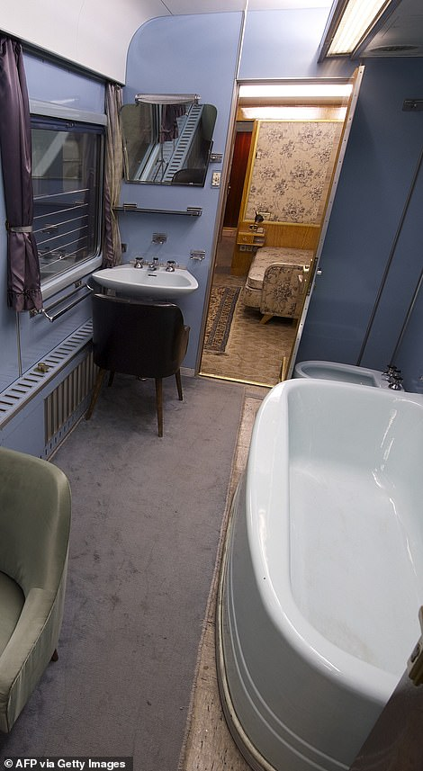 A bathroom inside the train