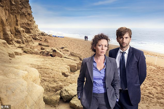 Actors David Tennant and Olivia Coleman in the ITV thriller Broadchurch