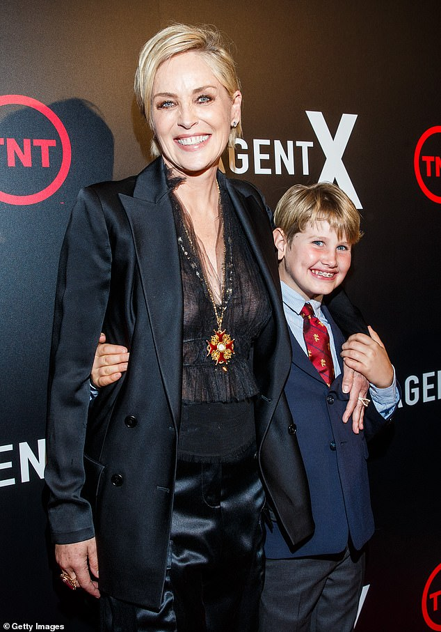 "Good ending: Sharon, known for her films Basic Instinct and The Quick and the Dead, commented, ""I've been there many times, there's good news, I have three beautiful sons.  Photographed here with his son Laird in October 2015"