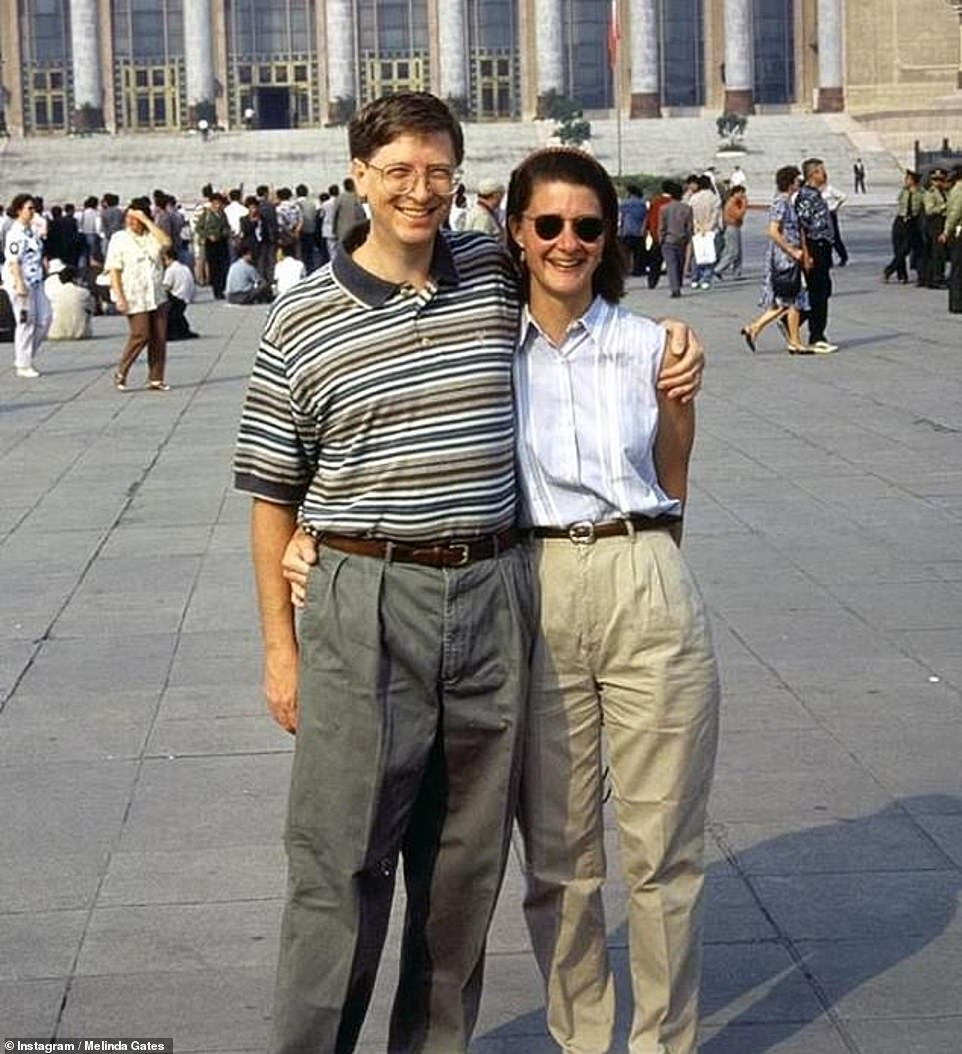 Changes: Melinda learned that she was pregnant with the couple's first child shortly before they were due to take a trip to China in 1995 (pictured)