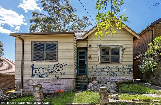A run-down home in Marrickville in Sydney's inner-west. The pair say prospective buyers should translate the term 'gorgeous suburb' to mean somewhere less desirable