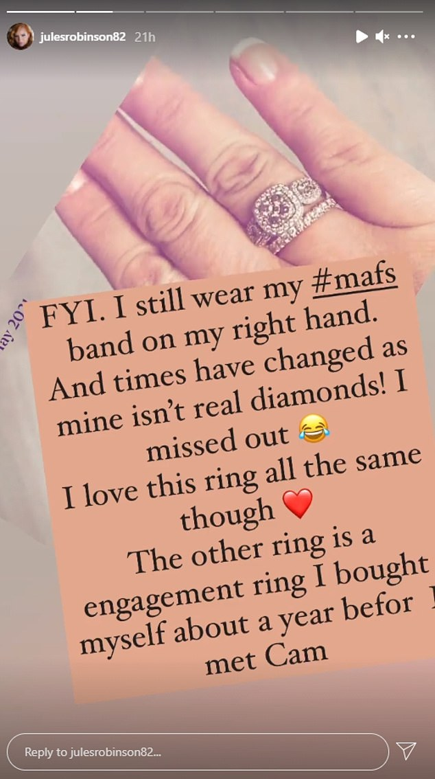 Details: Jules recently revealed on Instagram she'd purchased the ring when she was single about 12 months before going on the Nine show in 2019. Cameron also gave her a ring