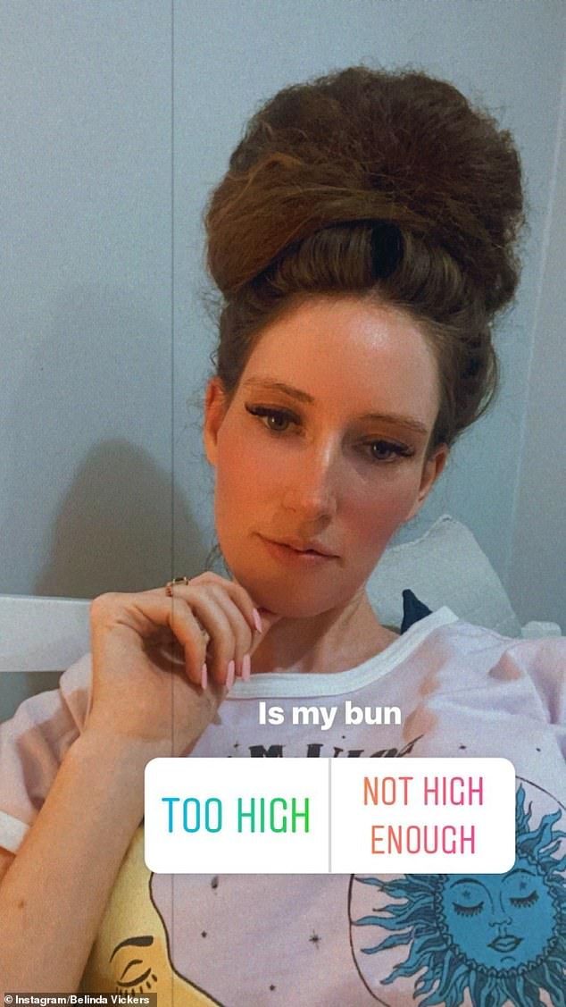 New look:Married at First Sight 's Belinda Vickers has switched up her look. Posting to her Instagram Stories on Monday, the 29-year-old shared a picture of herself with her hair tied into a big bun