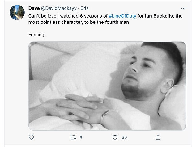 Some disgruntled fans took to Twitter to share their frustrations as Buckells was revealed as the criminal mastermind