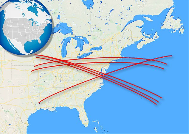 Pictured is predicted paths of the rocket over the eastern coast of the US. Calculations reveal six possible paths Long March 5B could take
