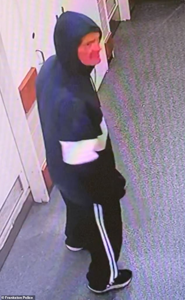 The intruder broke into the Melbourne butcher around 11pm on April 5. Police have released an image of a man (above) they believe can assist with their enquiries