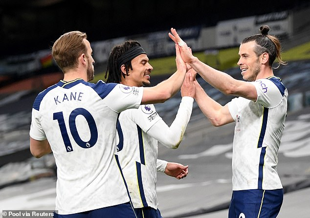 Alli (middle) played a crucial role in Spurs' attacking display over Sheffield United, which saw Gareth Bale (right) score a hat-trick in their 4-0 win on Sunday