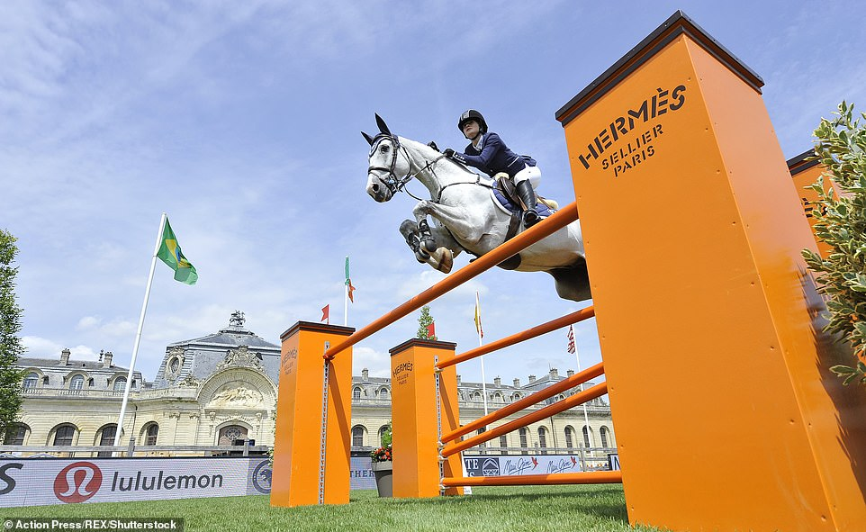 Jennifer Gates on Pumped Up Kicks competes at the Longines Global Champions Tour in Chantilly, France in 2017
